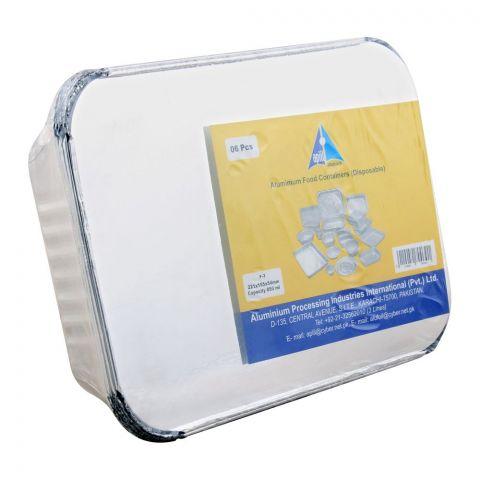 Apiil Aluminium Food Container, 221x155x54mm, 850ml, F-3, 6-Pack