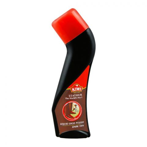 Kiwi Liquid Shoe Polish, Dark Tan, 75ml