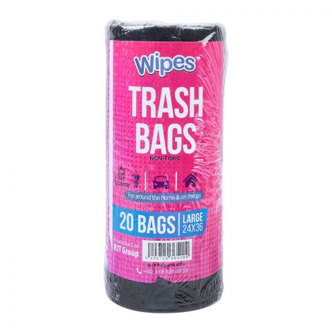 Wipes Trash Bags, Large, 24x36 Inches, 20-Pack