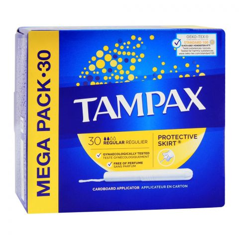 Tampax Protective Skirt Regular Tampons, Perfume Free, 30-Pack