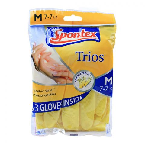Spontex Trios Hand Gloves, Medium
