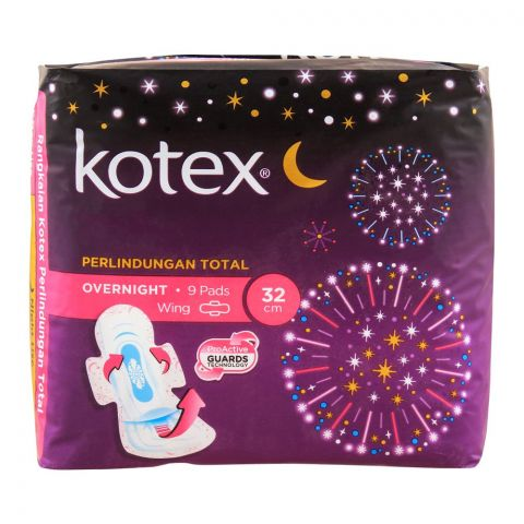 Kotex Total Protection Over Night Wing Pads, 32cm, 9-Pack