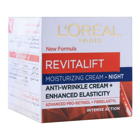 L'Oreal Paris Revitalift Moisturizing Night Cream, Anti-Wrinkle Cream, Intense Action, 50ml