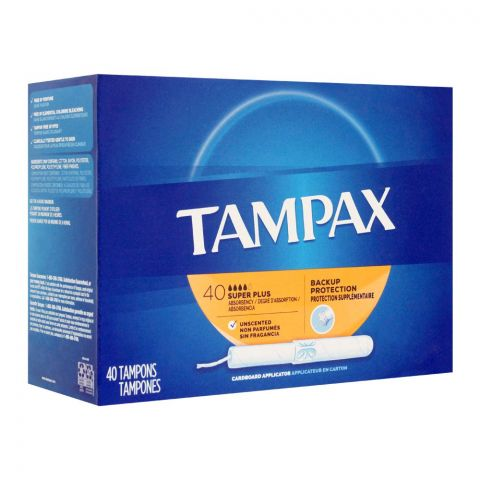 Tampax Backup Protection Super Plus Unscented Tampons, 40-Pack