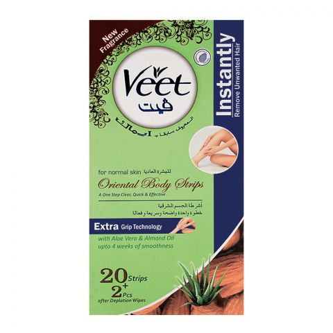 Veet Oriental Aloe Vera & Almond Oil Body Strips 20+2 Pack (Imported)