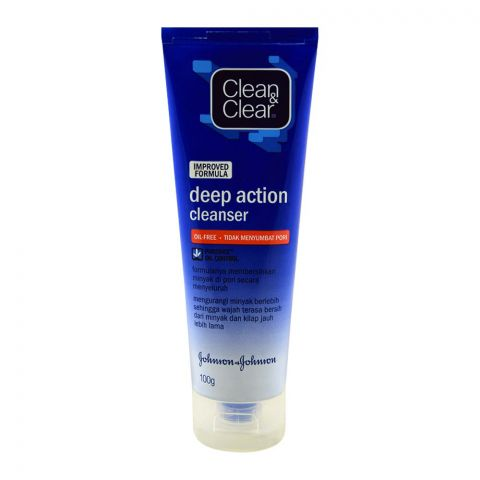 Clean & Clear Improved Formula Deep Action Cleanser, Oil Free, 100g