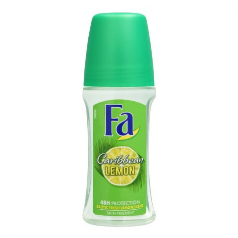 Fa 48H Protection Exotic Caribbean Lemon Scent Roll-On Deodorant, For Men, 50ml