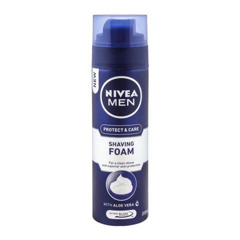 Nivea Men Protect & Care Shaving Foam, With Aloe Vera, 200ml