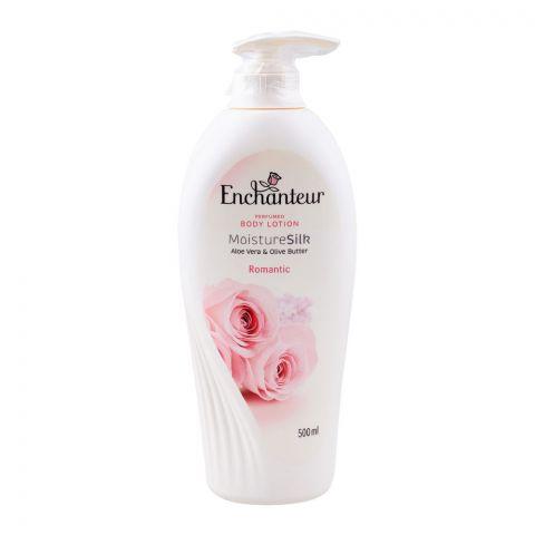 Enchanteur Romantic Moisture Silk Perfumed Body Lotion, Aloe Vera & Olive Butter, 500ml