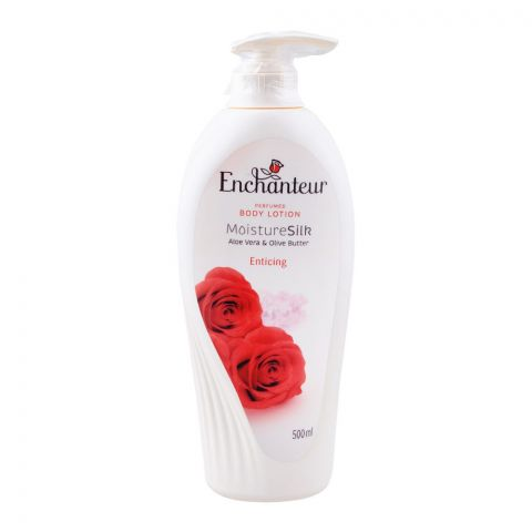 Enchanteur Enticing Moisture Silk Perfumed Body Lotion, Aloe Vera & Olive Butter, 500ml