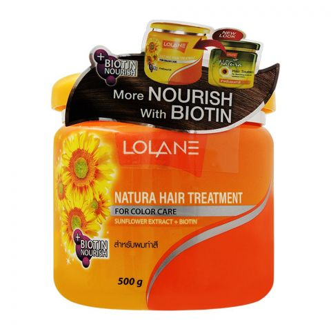 Lolane Natura Hair Treatment, Sunflower Extract + Biotin, For Color Care, 500g