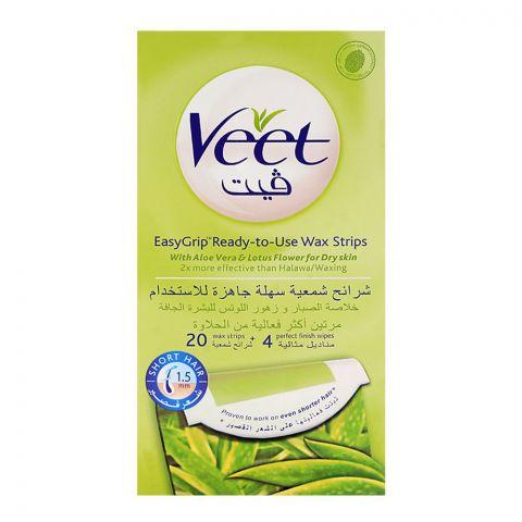 Veet Easy Grip Aloe Vera & Lotus Flower Wax Strips 20-Pack (Imported)