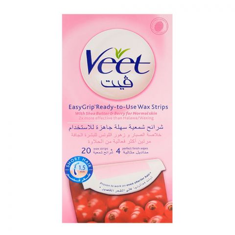 Veet Easy Grip Shea Butter & Berry Wax Strips 20-Pack (Imported)