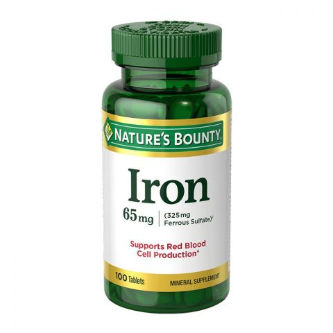 Nature's Bounty Iron + Ferrous Sulfate, 65mg + 325mg, 100 Tablets, Mineral Supplement