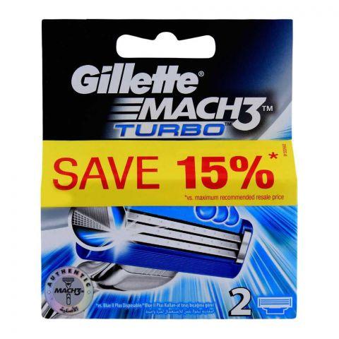 Gillette Mach3 Turbo Cartridges, Razor Blades, 2-Pack