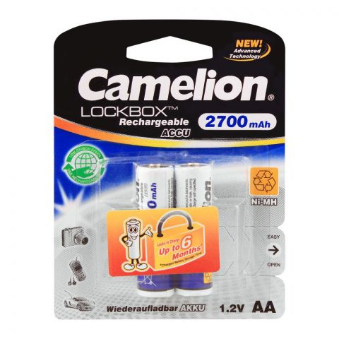 Camelion Lockbox Ni-MH AA 2700mAh Rechargeable Battery, 2-Pack, NH-AA2700LBP2