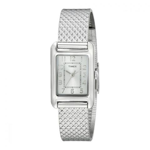 Timex Women's Emma Silver Dial, Stainless Steel, Mesh Bracelet Watch - T2P303