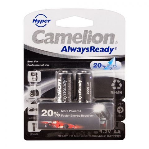 Camelion AlwaysReady NiMH AA 2000mAH Rechargeable Battery, 2-Pack, NH-AA2000HPBP2
