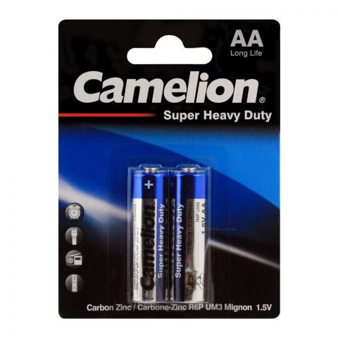 Camelion Super Heavy Duty AA Batteries, 2-Pack, R6P-BP2B