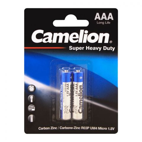 Camelion Super Heavy Duty Long Life AAA Battery, 2-Pack, R03P-BP2B