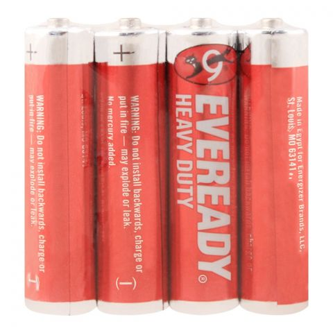 Eveready Heavy Duty AAA Battery, Red, 4-Pack