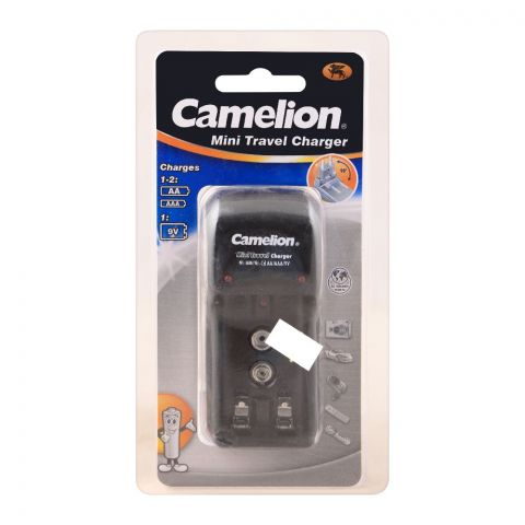 Camelion Mini Travel Charger, For AA, AAA & 9V Batteries, BC1001B