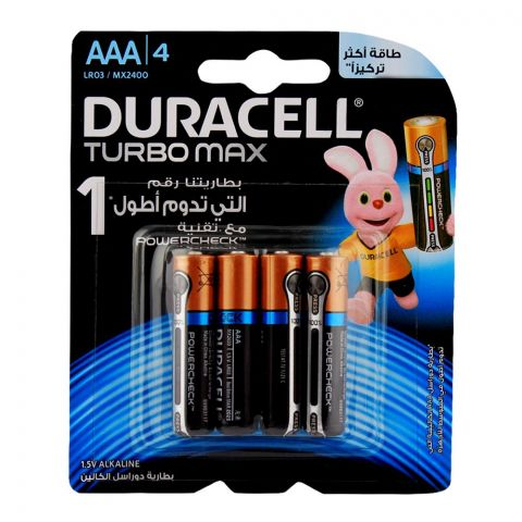 Duracell Turbo Max AAA Batteries 1.5V 4-Pack