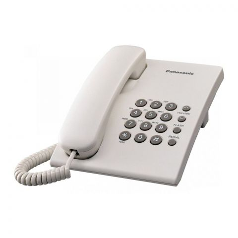 Panasonic Corded Landline Phone, White, KX-TS500MX