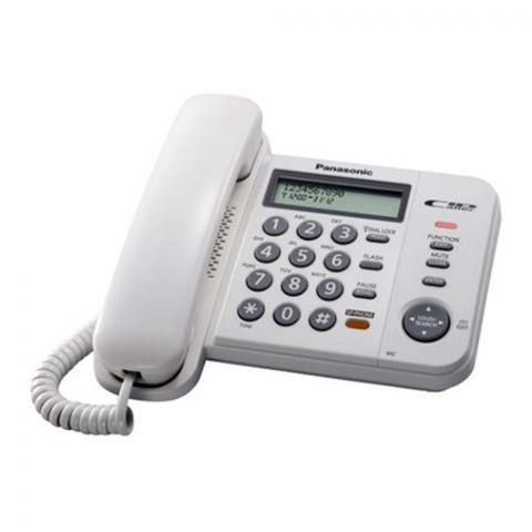 Panasonic Corded Landline Speaker Phone With Caller ID, White, KX-TS580MX