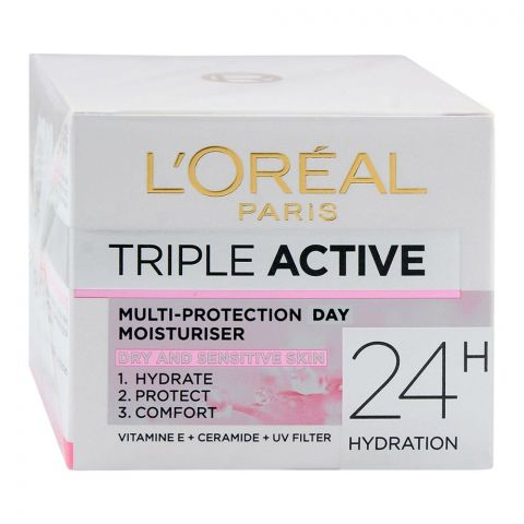 L'Oreal Paris Triple Active Day Moisturiser, Dry And Sensitive Skin, 50ml