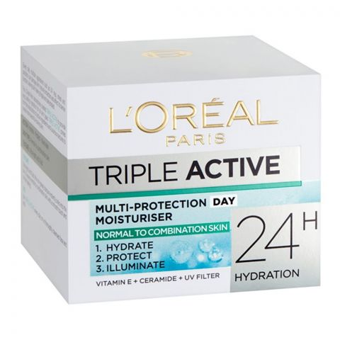 L'Oreal Paris Triple Active Day Moisturiser, Normal To Combination Skin, 50ml