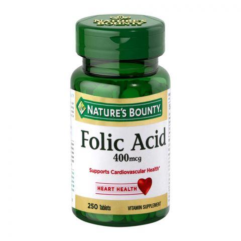 Nature's Bounty Folic Acid, 400mcg, 250 Tablets, Vitamin Supplement