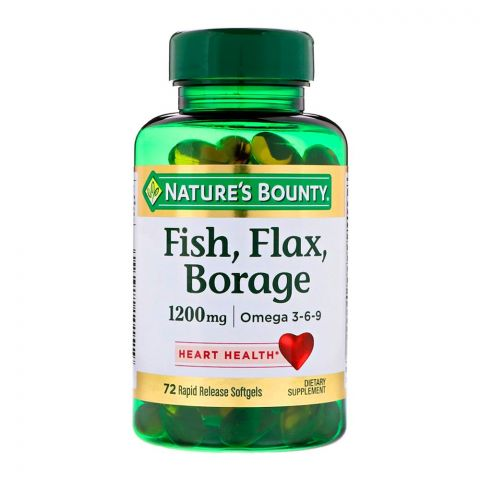 Nature's Bounty Fish, Flax & Borage, 1200mg, 72 Softgels, Dietary Supplement