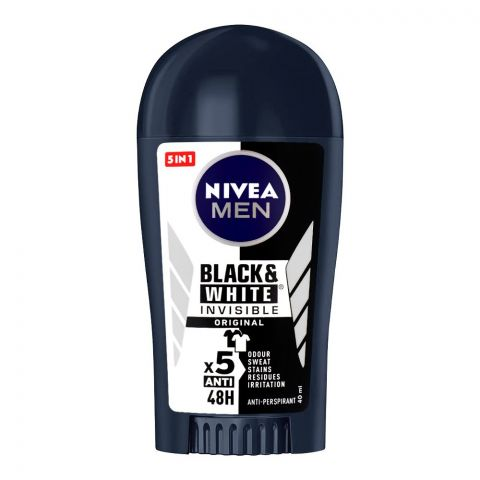Nivea 48H Men Black & White Invisible Original Deodorant Stick, 40ml