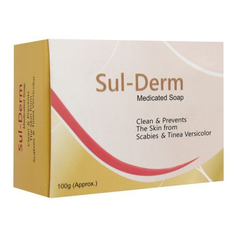 Sulderm Medicated Soap Bar, For Scabies & Tinea Versicolor, 100g