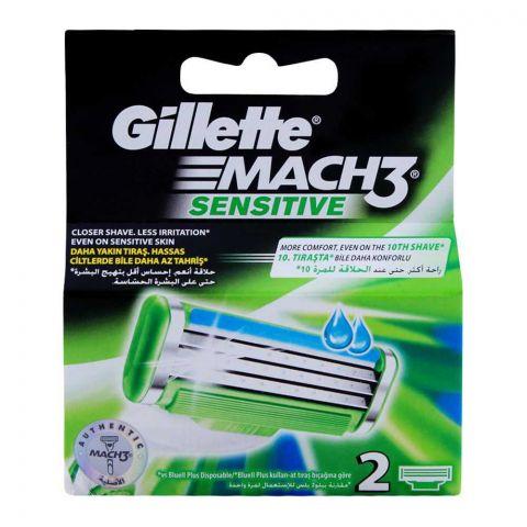 Gillette Mach3 Sensitive Cartridges, Razor Blades, 2-Pack
