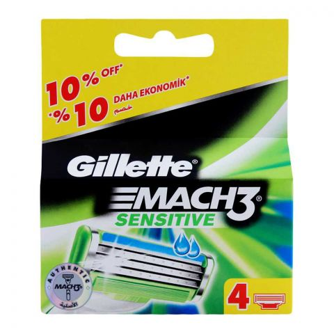 Gillette Mach3 Sensitive Cartridges, Razor Blades, 4-Pack