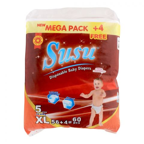 Susu Disposable Baby Diapers, No. 5, XL, 14-20 KG, 60-Pack