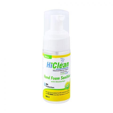 Hiclean Lemon Hand Foam Sanitiser With Moisturiser, Alcohol Free, 50ml