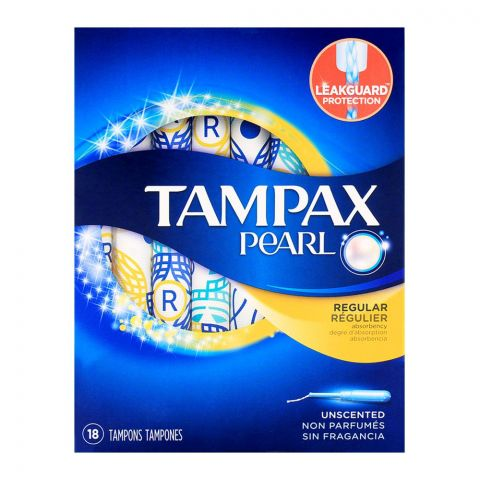Tampax Pearl Regular Unscented Tampons 18-Pack