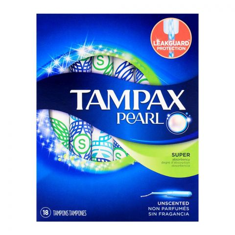 Tampax Pearl Super Super Unscented Tampons 18-Pack