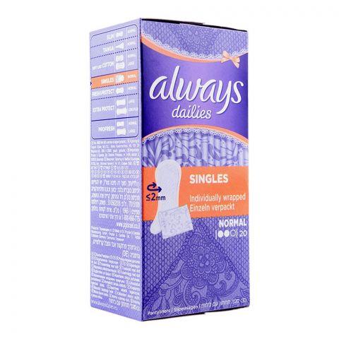 Always Dailies Singles Pantyliners, Normal, 20-Pack