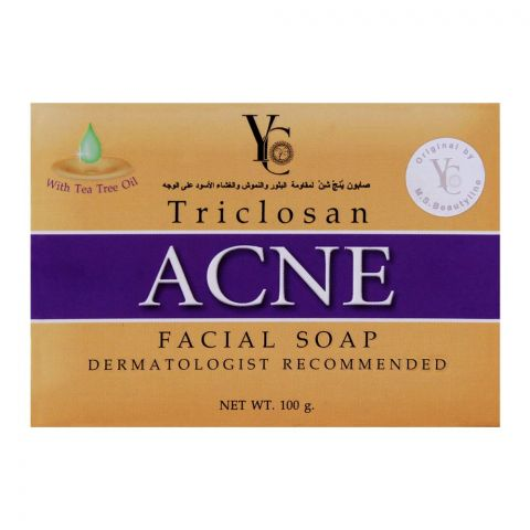 YC Triclosan Acne Facial Soap, With Tea Tree Oil, 100g