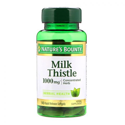 Nature's Bounty Milk Thistle 1000mg, 50 Softgels, Herbal Supplement