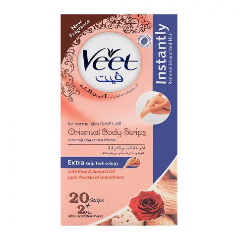 Veet Oriental Rose & Almond Oil Body Strips 20+2-Pack (Imported)
