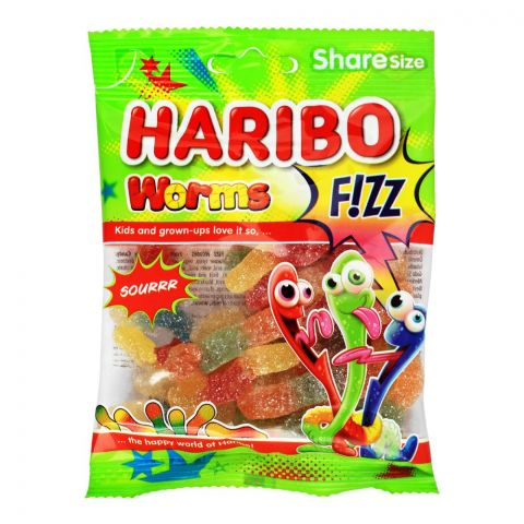 Haribo Worms Fizz Jelly, Share Size Pouch, 80g