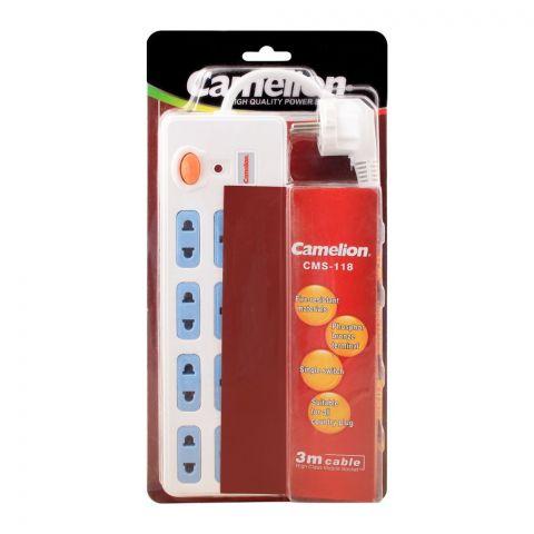 Camelion 4+4 Outlet Power Socket Extension, 3m Cable, CMS-118