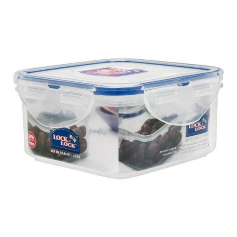 Lock & Lock Air Tight Square Short Food Container, 420ml, LLHPL850