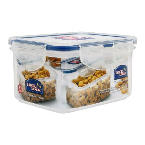 Lock & Lock Air Tight Rectangular Short Food Container, 470ml, LLHPL807