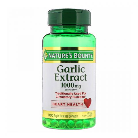 Nature's Bounty Garlic Extract 1000mg, 100 Softgels, Herbal Supplement
